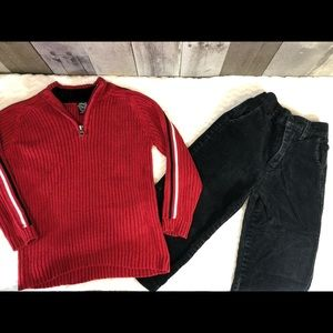 Vintage Red sweater and George corduroy pants